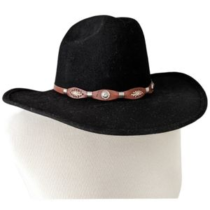 Bailey Black Wool Western Caliente Hat w Leather